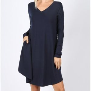 Dresses & Skirts - Navy Blue A-line Dress with pockets